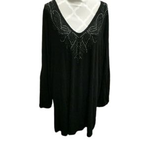Michel studio black beaded v-neck tunic